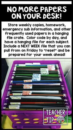 Teacher Tip Get rid of the papers on your desk by using a hanging file crate! [Cupcakes & Curriculum] crate Cupcakes Curriculum Desk File hanging papers rid Teacher Tip is part of Classroom - Classroom Organisation, Teacher Organization, Teacher Tools, Teacher Hacks, Classroom Management, Teacher Resources, Classroom Ideas, Organized Teacher Desk, Teacher Binder