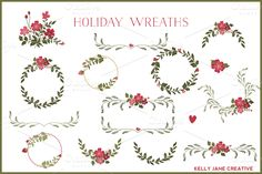 Check out Holiday Wreaths with Red Flowers by kellyjsorenson on Creative Market http://crtv.mk/aNRI