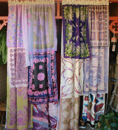 TEMPEST TOSSED - Handmade Gypsy Curtains  sheer curtain foundation layered with silk & chiffon scarfs