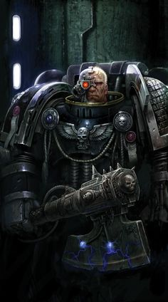 "Warhammer 40k Artwork. Space Marines, Iron Hands Chapter (?) ""And my axe!"""