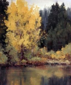 Grays and Yellows by Kathleen Dunphy Oil ~  x