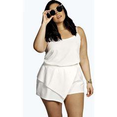 Boohoo Plus Nadia Embossed Asymmetric Skort (32 CAD) ❤ liked on Polyvore featuring skirts, mini skirts, white mini skirt, white asymmetrical skort, asymmetrical skirt, white golf skirt and white skort