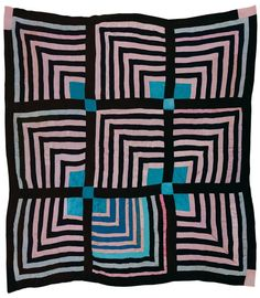 "Sue Willie Seltzer, born 1922. ""Housetop"" -- nine-block ""Half-Logcabin"" variation, ca 1955, cotton and sythetic blends, 80 x 76 inches."