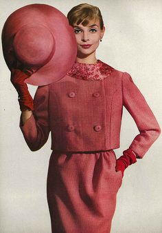 Harper's Bazaar, February 1958    Model is wearing a rose and pinked   checked wool suit by Finger & Rabiner.  Photo by Louise Dahl Wolfe