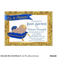 Adorable Blue Gold Ethnic Prince Baby Shower Card