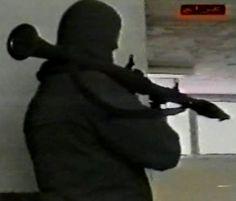 Al Qaeda-linked militant in Bosnia with rocket launcher. Source: Jihadist propaganda video, The Martyrs of Bosnia