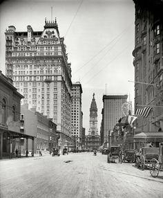"Philadelphia circa 1907. ""City Hall, Broad Street north from Locust."""
