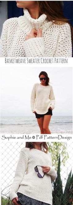 Basket Weave Sweater - Crochet Pattern - Instant Download Pdf - Womens Fashion Crochet - Womens Clothing - Pattern is Available for Download After Purchase #ad