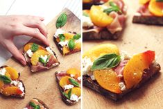 Tartines au jambon cru, pêche rôtie, fromage frais & basilic by Söta Salt <3
