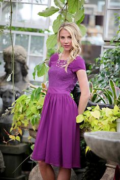 Purple Isabel Modest Dress by Mikarose | Trendy Modest Dresses | Mikarose Spring 2014 Collection