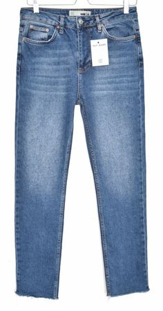 53a17f00381 ...  fashion  clothing  shoes  accessories  womensclothing  jeans (ebay link).  See more. Topshop Moto STRAIGHT LEG High Rise Blue RAW HEM Crop Jeans Size  12 ...