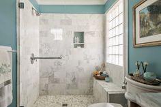 marble shower | Dona Rosene Interiors