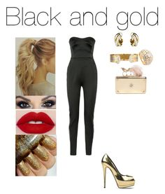 """Black and gold"" by insafsat on Polyvore featuring mode, Antonio Berardi, Giuseppe Zanotti, Alexander McQueen et Cartier"