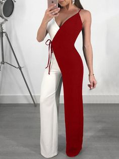Shop Contrast Color Spaghetti Strap Wrapped Wide Leg Jumpsuit right now, get great deals at Joyshoetique. Shop Contrast Color Spaghetti Strap Wrapped Wide Leg Jumpsuit right now, get great deals at Joyshoetique. Classy Outfits, Chic Outfits, Work Outfits, Summer Outfits, Classy Casual, Blazer Outfits, Classy Chic, Party Outfits, Jumpsuit Outfit