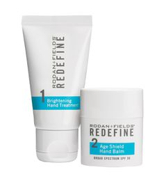Our hands are among the hardest working and most environmentally vulnerable parts of our bodies. That's why the backs of people's hands often look so much older than their faces. To defend against the telltale signs of skin aging, we created the REDEFINE Hand Treatment Regimen. It visibly brightens, diminishes visible redness and reduces the appearance of brown spots, wrinkles and thin, crepey skin.