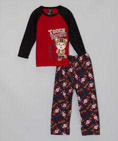 Look at this Red 'Touch Down' Bear Pajama Set - Infant & Toddler on #zulily today!