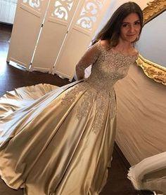 Gold satin lace long prom dress, long sleeve evening dresses,PD14014 #seoydress #promdresses #shopping #fashion #dresses #evening