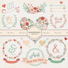 Premium Wedding Clip Art, Floral Clip Art, Love Clipart, Wedding Embellishments, Wedding Flowers, Hand Drawn Wedding Art, Handdrawn Wedding