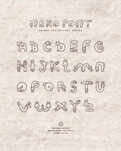 Neko font by Yuiko Takeuchi, Japan Hand Lettering Alphabet, Doodle Lettering, Creative Lettering, Calligraphy Alphabet, Lettering Styles, Typography Fonts, Lettering Design, Graffiti Alphabet, Islamic Calligraphy