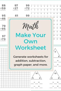 Need to create a timed test or just want to print out some extra practice for your child or class? Create endless addition, subtraction, multiplication, division, and fact family worksheets with these math worksheet generators. Multiplication Facts Worksheets, Teaching Subtraction, Math Facts, Teaching Math, Maths, Kindergarten Activities, Teaching Tips, Fact Family Worksheet, Professor