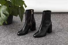 Designer luxury Italian made timeless classic ankle booties, black leather block heel women's, Spirit boots, Dear Frances – dearfrances.com