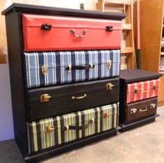 Creating a suitcase dresser: A Tutorial :: I think my current dresser would be a good candidate for this technique.