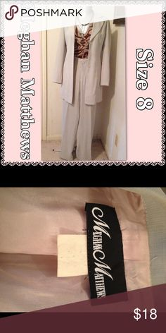 """Megan Matthews Pantsuit Very pale green, almost a cream color. Length from shoulder to hem on jacket 33"""". Waist on pants 27"""". To crotch 12"""". Inseam 31"""". Meghan Matthews Pants Trousers"""