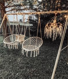From hillbilly on the side of the road to a boho fairy wonderland. ⠀ ⠀ I had to improvise to work with the offset pre-hung hooks. Hanging Hammock Chair, Swinging Chair, Hanging Chairs, Chair Swing, Garden Hanging Chair, Garden Swing Chair, Hanging Beds, Diy Hanging, Backyard Patio Designs