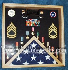 Square Military Shadow Box by Topnotch Woodworks Army Retirement, Retirement Ideas, Volunteer Firefighter, Firefighters, Fundraising Events, Fundraising Ideas, Shadow Box Display Case, Military Shadow Box, Barn Wood Projects