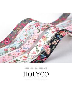 """SAHA' Flowers Fabric Folding Ribbon / 3/8""""(10mm), 1""""(25mm), 1.5""""(40mm) / made in Korea by HOLYCO on Etsy"""