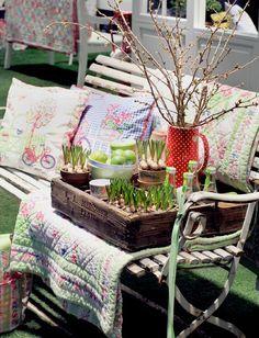 garden bench and accessories
