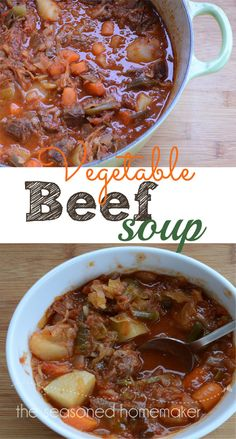 This hearty Vegetable Beef Soup warms you twice. Once while it simmers on the stove and once when eaten. - The Seasoned Homemaker