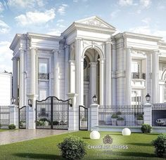 luxo Home Builders Classic House Exterior, Classic House Design, Dream House Exterior, Dream House Plans, Modern House Design, Neoclassical Architecture, Classic Architecture, Plano Hotel, Fachada Colonial