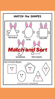 Shape Worksheets For Preschool, Preschool Math, Kindergarten Math, Preschool Ideas, Teaching Shapes, Teaching Kids, Fun Activities For Toddlers, Preschool Activities, Math Crafts