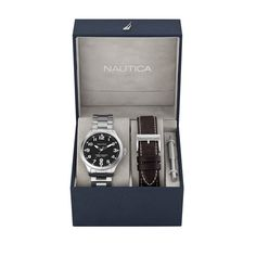 Men's watch box set. Stainless steel bracelet and brown leather strap, black dial. 44mm case. Water resistant to 330 feet (100 meters). Includes gift box.  #bossmark #holidaygifts #companyholidaygifts #corporateparties