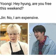 Bts Jin, Bts Bangtan Boy, Bts Boys, Bts Memes Hilarious, Bts Funny Videos, Crazy Funny Memes, Funny Dad Jokes, Funny Stuff, Jin Dad Jokes