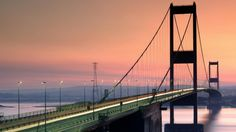 Wallpaper landscape, bridge, river, sunset