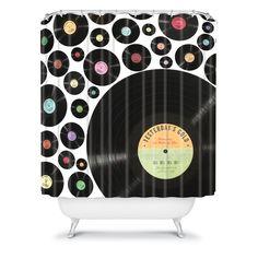Golden Oldies Vinyl Love Shower Curtain