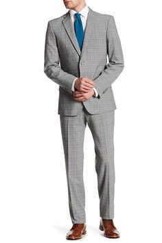 Gray Windowpane Plaid Two Button Notch Lapel Suit
