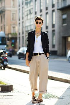 oversized trousers belted with mens white V-neck tee and blazer.  roll-up trousers and wear with leopard flats.