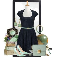 Navy and Mint | eShakti.com | this is the dress I wanted, but the mint makes it even more perfect!!
