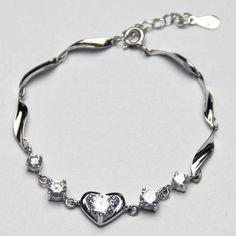 Pandora Sparkling White crystal bracelet 925 silver bracelet Heart pendant women jewelry Artificial diamond bracelet,Crystal jewelry,Women jewelry Party Bridesmaid Wedding Daily jewelry,Wholesale or retail.