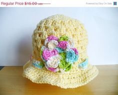 CIJ SALE Yellow Cotton Summer Hat with Flower by ACCrochet on Etsy, $11.25