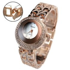 FW871A Rose Gold Tone Band Round Ladies Women Crystal Mirror glass Fashion Watch