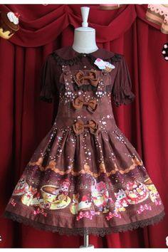 Infanta Sweet Shoulder Straps Cream Cat Lolita Dress 3 Colors.  $98.00.  Original JSK Y528 / $86.24:  http://item.taobao.com/item.htm?spm=a1z10.5.w4002-1087129940.86.MpZXSL&id=19150218638.