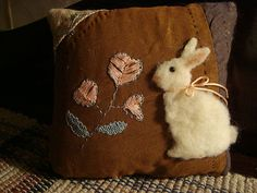 Rabbit On Crazy Quilt Pillow