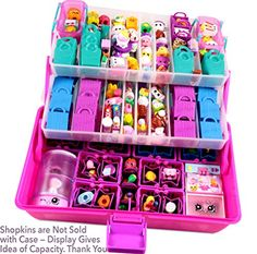 Toy Foods - Shopafun Organizer Shopkins Compatible Carrying Case PinkPurple High top 2 Trays 3 Levels 2 Cool Neoprene Mats Toy Display Case Trendy Kids Craft Storage Container by Felix and Wise *** You can get additional details at the image link. Kids Craft Storage, Craft Storage Containers, Polly Pocket, Toys For Girls, Kids Toys, Shopkins Happy Places, Toy Display, Display Cases, Toy Organization