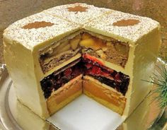 The Cherpumple is the desert version of the Turducken. It's a three-layer cake with a pie stuffed in each layer. YUM! Cherpumple is short for CHERry, PUMpkin and apPLE pie. The apple pie is baked in spice cake, the pumpkin in yellow and the cherry in white.