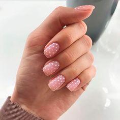 Dot Nail Art, Polka Dot Nails, Pink Nails, White Dots On Nails, White Gel Nails, Pink Manicure, Glitter Nails, Dot Nail Designs, Nails Design