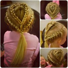 Heart braid french braid ponytail